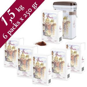 Cafè Venezia Ridolfo Ground Espresso - 6 Ground Coffee Packs & 1 Tin