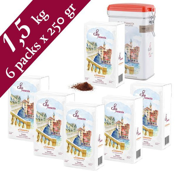 Cafè Venezia Lisaura Ground Espresso Coffee - 6 Packs of 250 gram & 1 tin