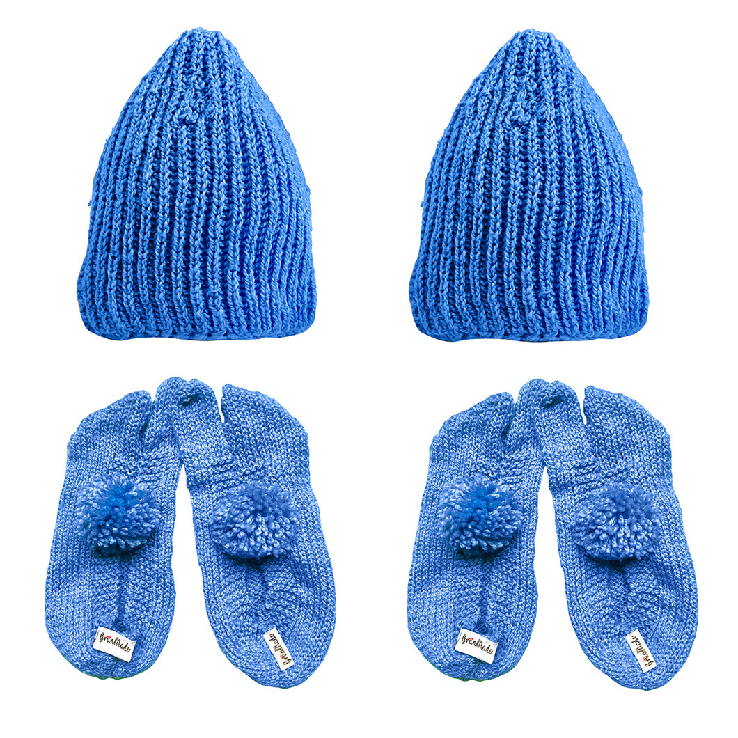 2 Light Blue Classic Beanies and 2 Light Blue Woolen Socks