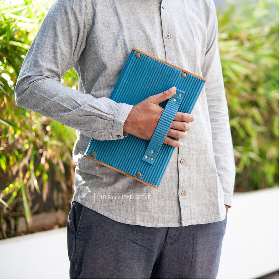 iPad/Tablet Sleeve 10.9 Inch - Set of 2 Sleeves -  Green & Khadi Blue