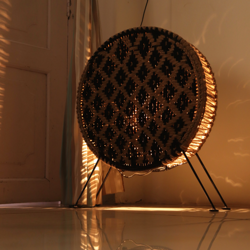 Asteroid Handwoven Jute & Black Cotton Round Lamp