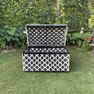 Ikkat Trunk- Large Made with Iron Frame and Waste Plastic