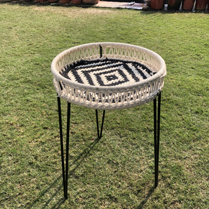 Dove Round Table (S) Made with Iron Frame and Jute, Waste Textile