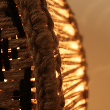 Load image into Gallery viewer, Asteroid Handwoven Jute & Black Cotton Round Lamp