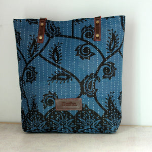 Cotton Sari Tote Bag - Indigo, Brown, or Gray
