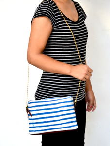 Soft Nautical Travel Sling Zipper Pouch