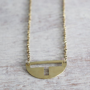 Semi-Circle Cut-Out Necklace Necklace made with Brass