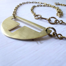 Load image into Gallery viewer, Semi-Circle Cut-Out Necklace Necklace made with Brass