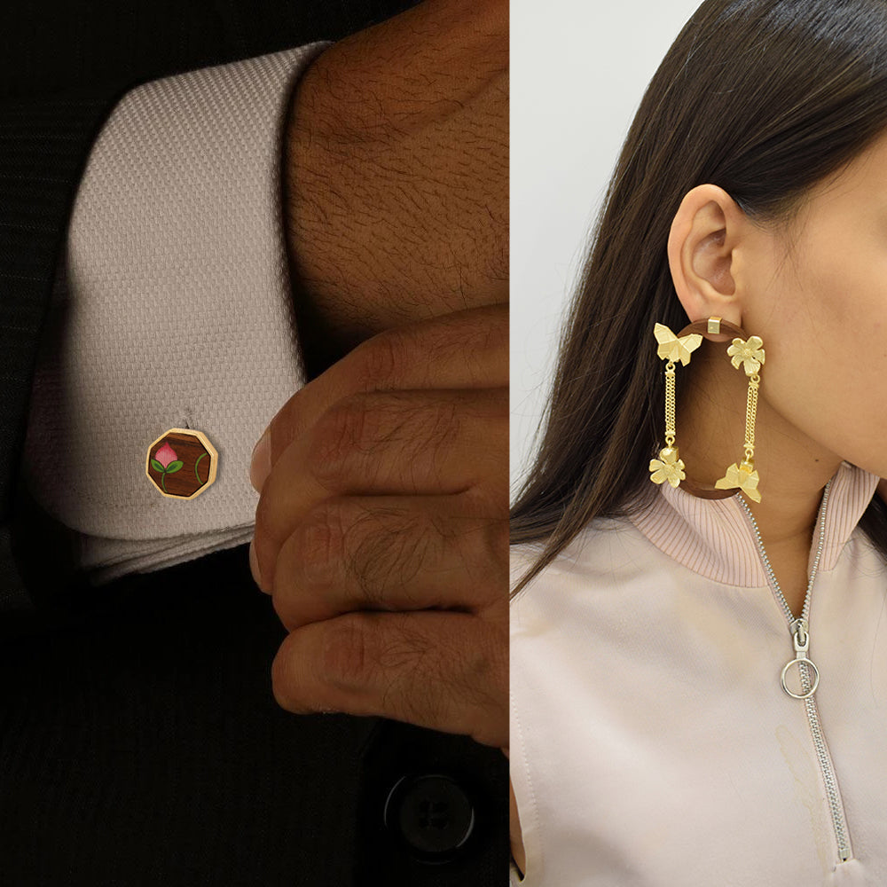 His and Hers Wooden Jewelry - Cufflinks and Earrings Combo