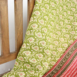 Double Kantha Blanket Blanket Made With - Recycled/Vintage Cotton Sari Cloth Handmade Item