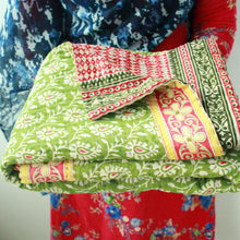 Load image into Gallery viewer, Double Kantha Blanket Blanket Made With - Recycled/Vintage Cotton Sari Cloth Handmade Item