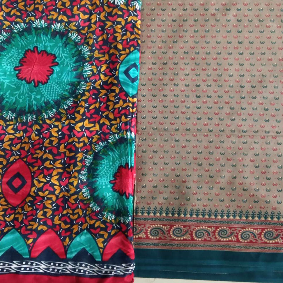 Standard Kantha Throw Blanket - Brown, Red, and Turquoise