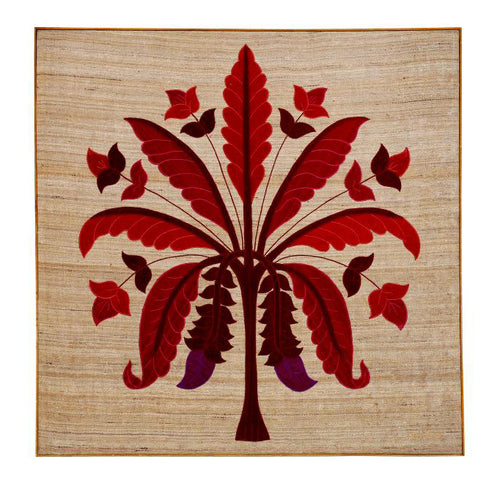 Banana Tree Embroidered Patchwork Red Wall Art