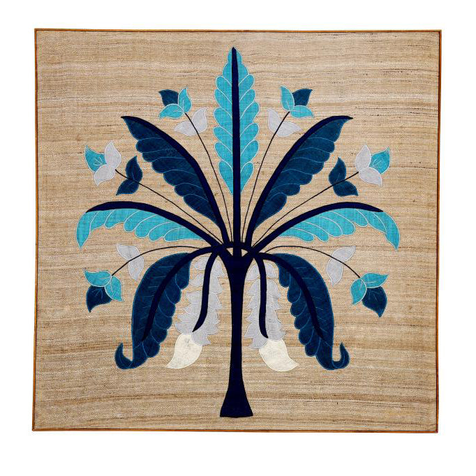 Banana Tree Embroidered Patchwork Blue Wall Art