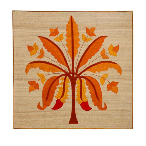 Banana Tree Embroidered Patchwork Orange Wall Art