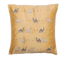 Load image into Gallery viewer, Camel Embroidered Yellow Cushion Cover