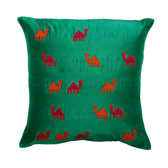 Camel Embroidered Green Cushion Cover