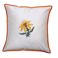 Load image into Gallery viewer, Floral Embroidered Brown Cushion Cover