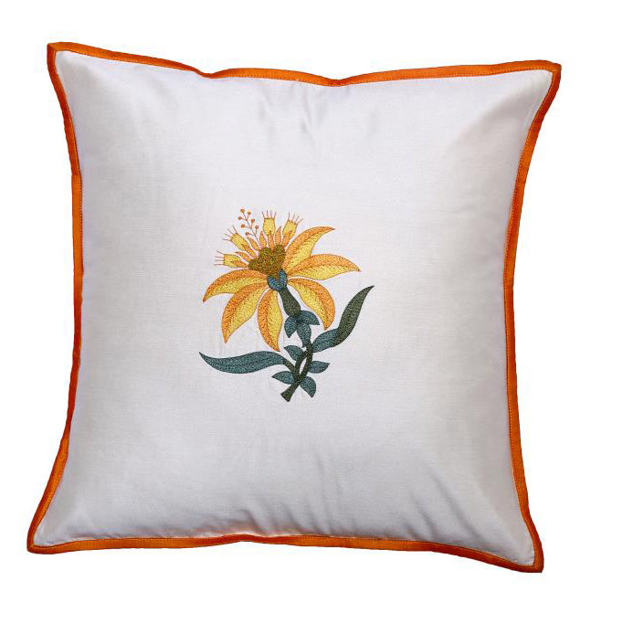 Floral Embroidered Brown Cushion Cover
