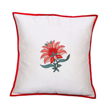 Load image into Gallery viewer, Floral Embroidered Red Cushion Cover