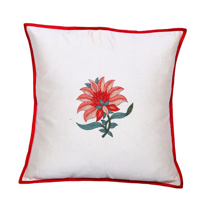 Floral Embroidered Red Cushion Cover
