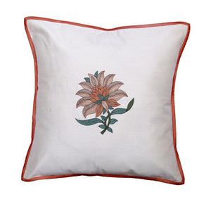 Floral Embroidered Beige Cushion Cover