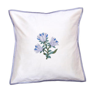 Floral Embroidered Gray Cushion Cover