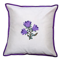 Load image into Gallery viewer, Floral Embroidered Purple Cushion Cover
