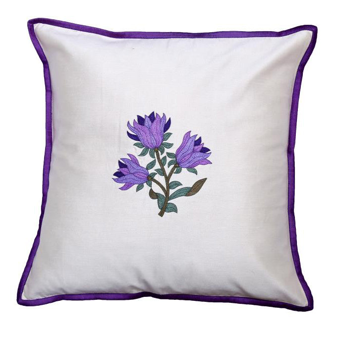 Floral Embroidered Purple Cushion Cover