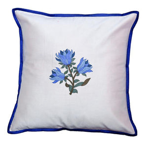 Floral Embroidered Blue Cushion Cover