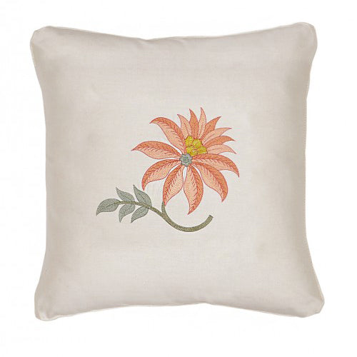 Floral Embroidered Orange & Rust Cushion Cover