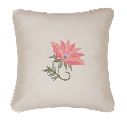 Floral Embroidered Pink & Baby Pink Cushion Cover
