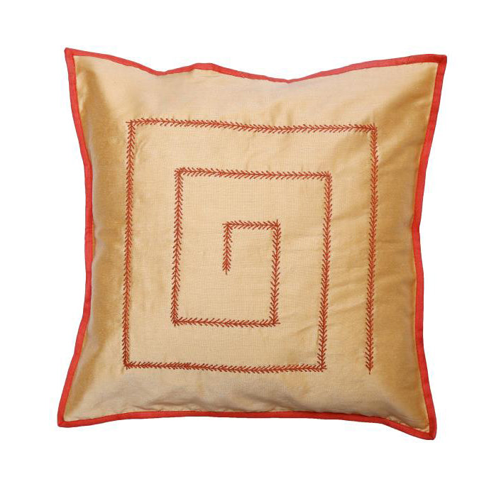 Kantha Embroidered Gold Cushion Cover