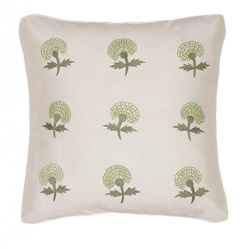 Marigold Embroidered 16x16 Light Green Cushion Cover