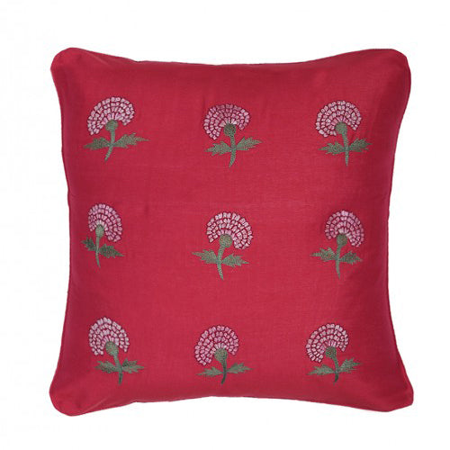 Marigold Embroidered 16x16 Shades of Red Cushion Cover