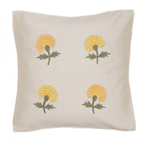 Marigold Embroidered 12x12 Yellow Cushion Cover