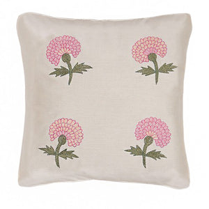 Marigold Embroidered 12x12 Pink Cushion Cover