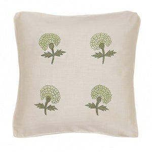 Marigold Embroidered 12x12 Light Green Cushion Cover