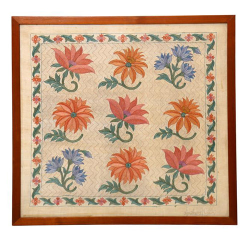Marigold Embroidered Wall Art - 21.5x21.5
