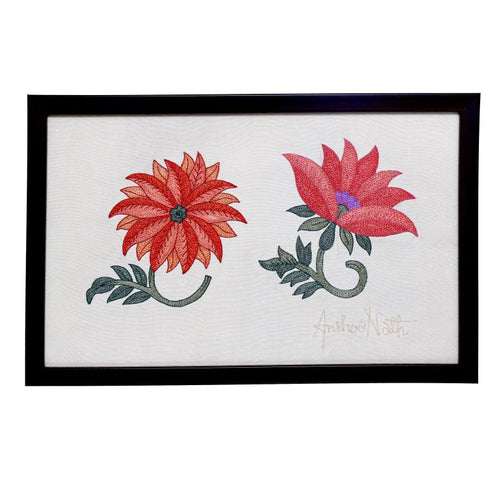 Marigold Embroidered Wall Art -  12.9x7.8