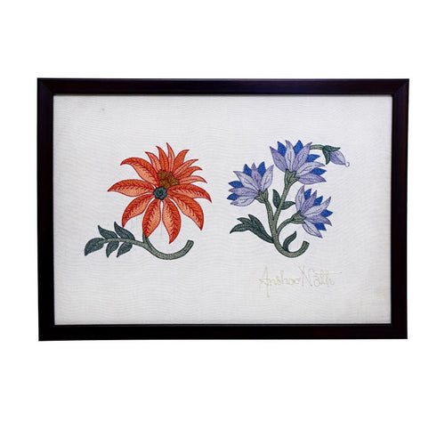 Marigold Embroidered Wall Art - 12.7x8.9