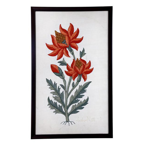 Marigold Embroidered Wall Art - 17.5x10.5
