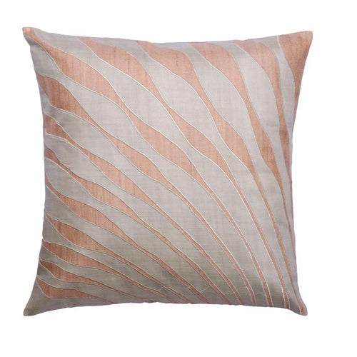 Peacock Feather Embroidered Patchwork Beige Cushion Cover