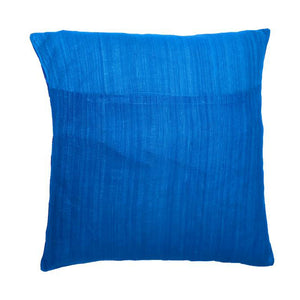 Peacock Feather Embroidered Patchwork Blue Cushion Cover
