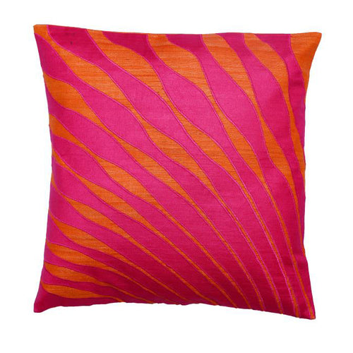 Peacock Feather Embroidered Patchwork Pink Cushion Cover