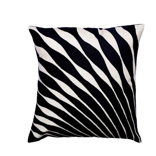 Peacock Feather Embroidered Patchwork Black and White Cushion Cover
