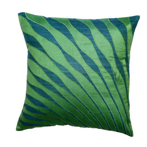 Peacock Feather Embroidered Patchwork Green Cushion Cover