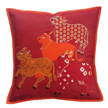 Load image into Gallery viewer, Nandi Embroidered Patchwork Red Cushion Cover