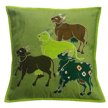 Load image into Gallery viewer, Nandi Embroidered Patchwork Green Cushion Cover