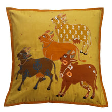 Load image into Gallery viewer, Nandi Embroidered Patchwork Yellow Cushion Cover